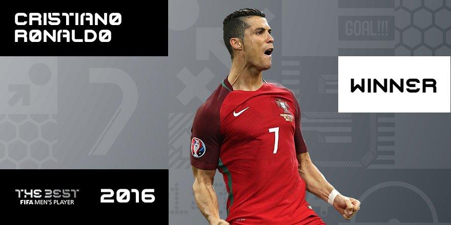 Congratulations, @Cristiano Ronaldo! Winner of #TheBest FIFA Men's Player 2016