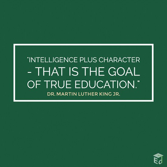 """Intelligence plus character - that is the goal of true education."" - Dr. Martin Luther King Jr. #MLKday2017 https://t.co/AB21lB8ePB"