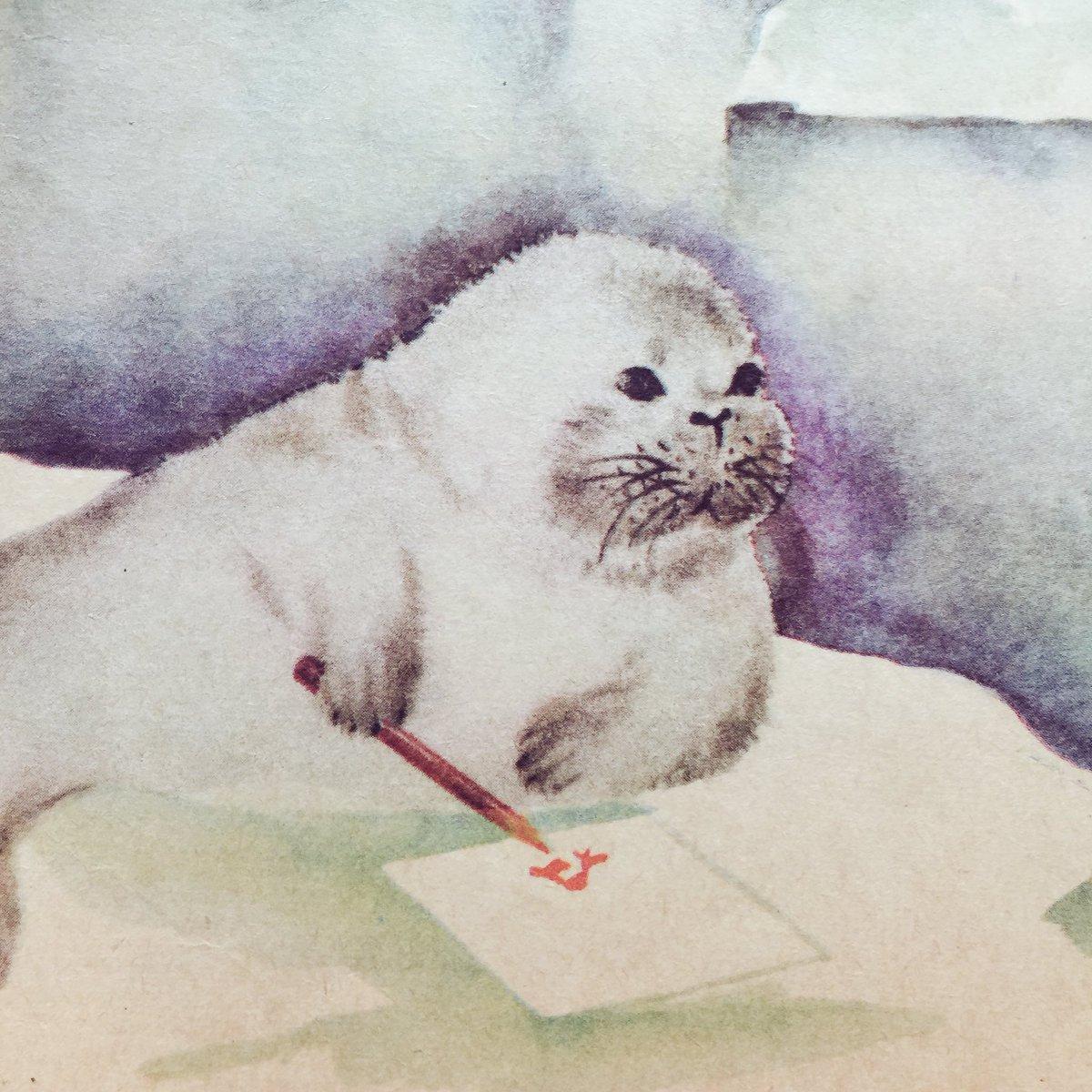 ひぃ…お絵描きするアザラシ坊やかわいい… (ソヴィエト絵本 1977年 https://t.co/TaXMOxzMey
