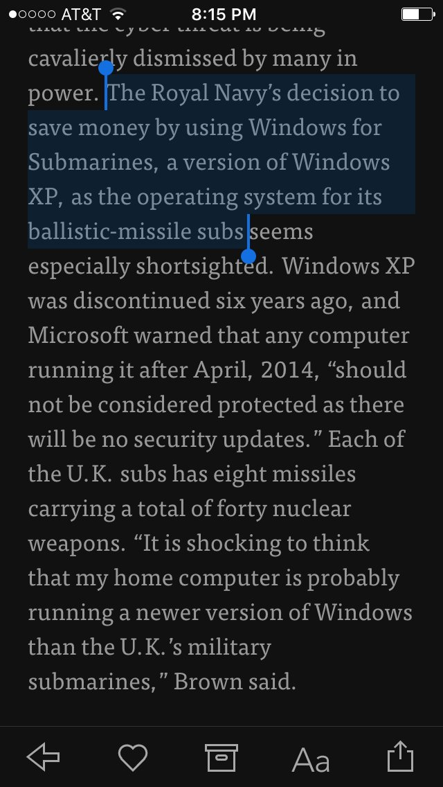 The UK's nuclear subs literally run Windows for Submarines, a version of Windows XP.   https://t.co/rOuzT9yZDC https://t.co/KHRQnR4zVI