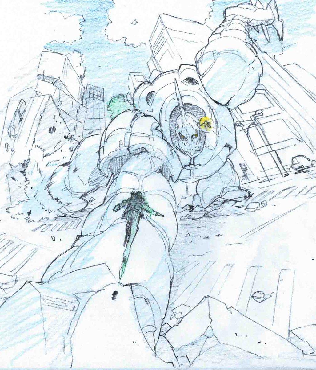 【王舞・初期イメージボード】巨大な王舞と人間との戦闘は、大小の対比が際立つので描きたいシチュエーションの一つでした。当初