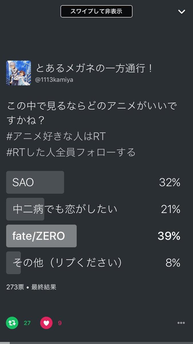 先日行ったアニメ投票の結果です!一番多かったのはfate/ZEROでした!なので1・fate/ZERO    2・SAO