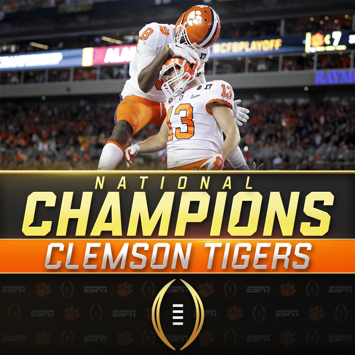 NATIONAL. CHAMPIONS.  Clemson takes down Alabama 35-31 to win its first #NationalChampionship since 1981! https://t.co/LA4EzJUVtH