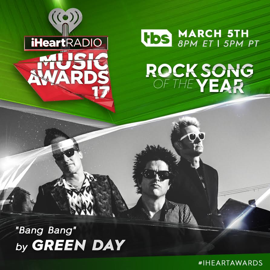 Green Day nominated for Rock Song of Year @iHeartRadio 2017 Music Awards! https://t.co/03psWXGsn8