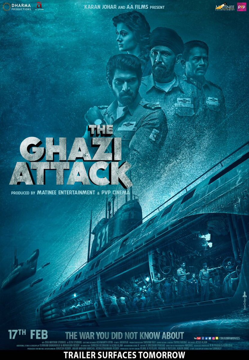 India's first war-at-sea film! #TheGhaziAttackTrailerTomorrow! #AAFilms @dharmamovies @RanaDaggubati