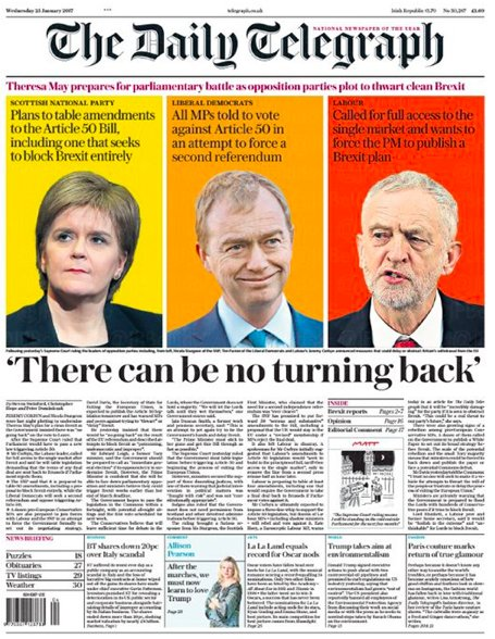 🇬🇧 'There can be no turning back'  (Une Daily Telegraph mercredi) #Brexit