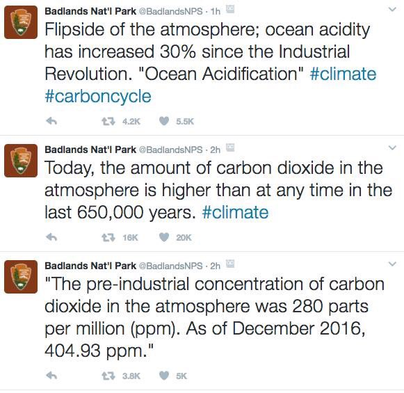 .@BadlandsNPS was forced to take down their tweets about climate change, but don't worry we saved them - now let's help spread them.