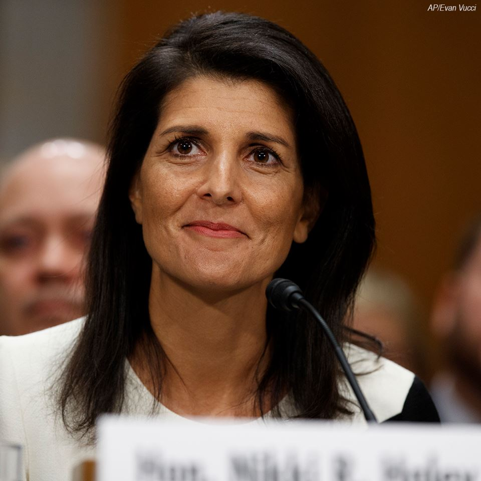 The Senate has voted to confirm @nikkihaley as UN Ambassador. The vote was 96-4.