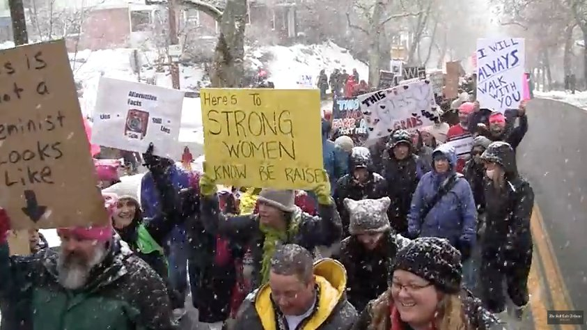 The snow & freezing temperatures didn't keep Utah from marching for their health, rights, & community.  https://t.co/QZMya0pGyB#WomensMarch