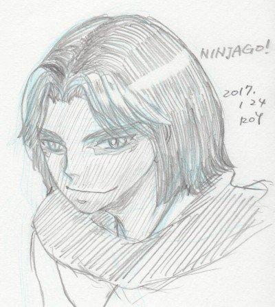 ニンジャゴーの落書きその2、擬人化スミマセン。昨年末のアニメでモローが出てきて、え、これじゃ勝ち目が、と思ったんだけどあ