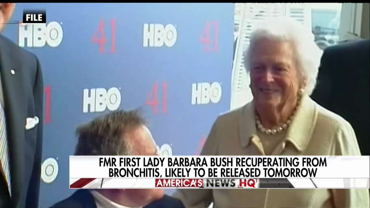 Former First Lady Barbara Bush recuperating from bronchitis, likely to be released tomorrow.