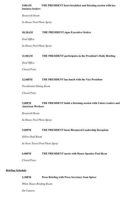 Busy day on tap tomorrow at the White House
