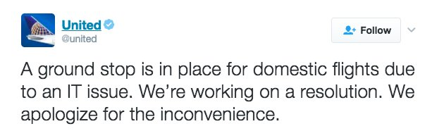 Just in: @United Airlines has issued a ground stop for all domestic flights due to an IT issue