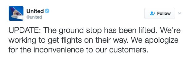 Updated: Ground stop on all domestic fights has been lifted, @united Airlines says