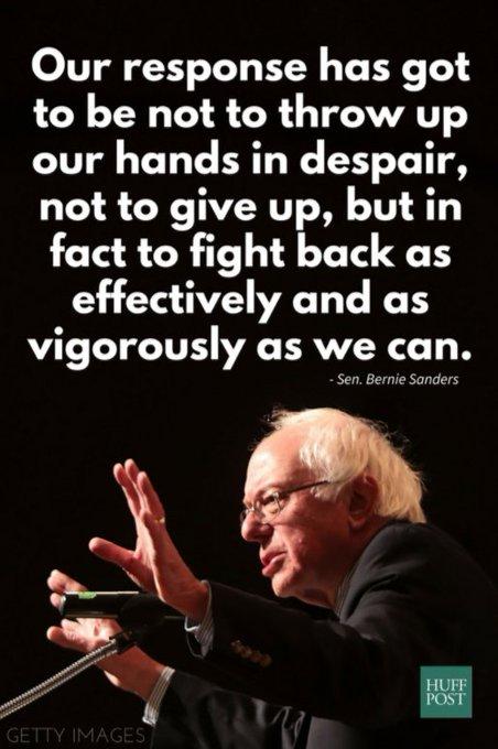 '절망하며 두 손을 들어버리거나 포기하는 게 우리의 반응이어선 안 된다. 최대한 효과적으로, 격렬히 맞서 싸워야 한다.' -버니 샌더스-