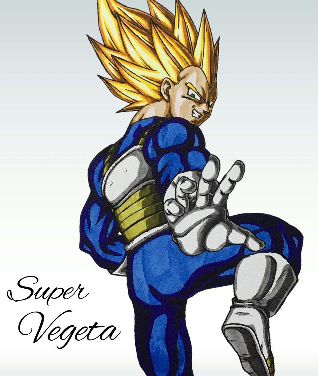 超ベジータのイラスト❗最近は超サイヤ人ブルーしか描いてなかったので、久々に超サイヤ人描くとやっぱりカッコイイですね😄リク
