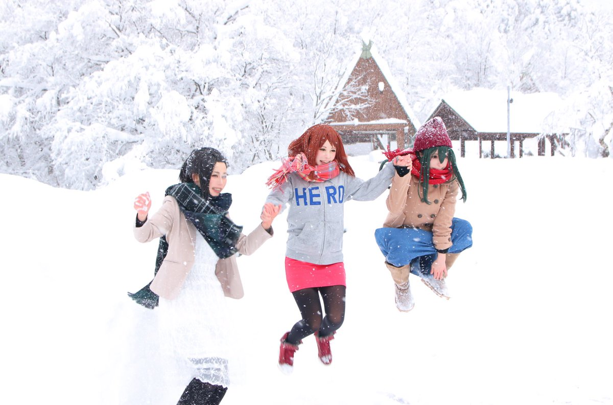 【コスプレ】僕のヒーローアカデミアJ-WORLDイラスト私服(アレンジ有り)オフ写!雪にはしゃぐただの北陸民!楽しかった