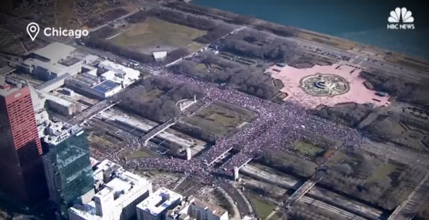 Aerial views show massive crowds at women's marches across the U.S. over the weekend