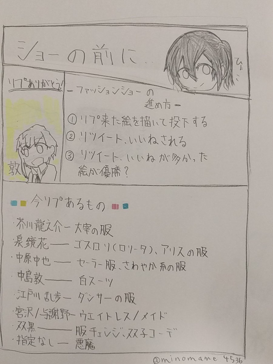 【文ストファッションショー】説明レモン(「🍋・ω・)「🍋
