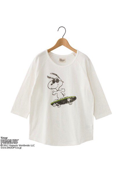 ビンテージ風のデザインが魅力!PLAZA「PEANUTS スヌーピー 7分袖 Tシャツ」発売中☆詳細→