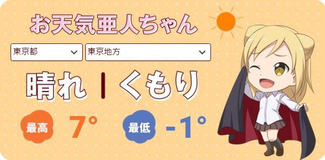【お天気亜人ちゃん 復旧しました!】本日1/24(火)の東京の天気は「晴れ時々曇り」。マントで日差しを避けるバンパイアの