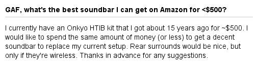 GAF, what's the best soundbar I can get on Amazon for <$500? https://t.co/8hReM5iOZh https://t.co/AasBpOSDDp