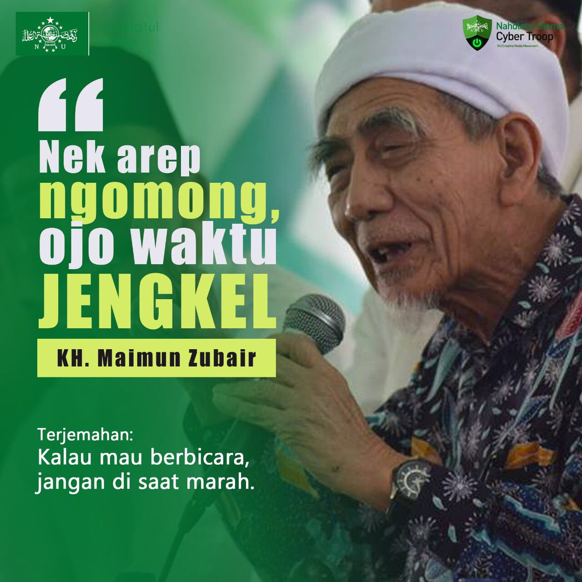 RT @Netizen_NU: Assalamualaikum. Mari simak dawuh Mbah Maimun Zubaer. Jangan mudah marah. https://t.co/wP0HskgmqX