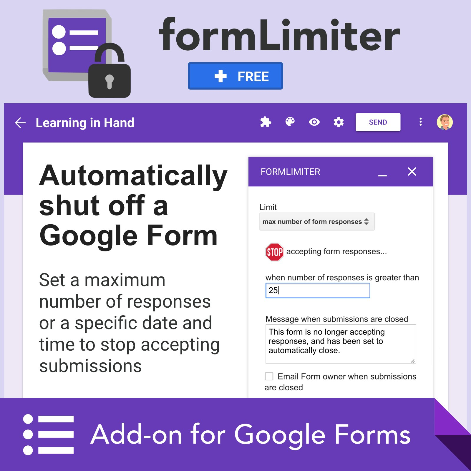 🔏 The formLimiter add-on shuts off a Google Form after a max number of responses or at a specific date and time… https://t.co/5knyLEUBqE