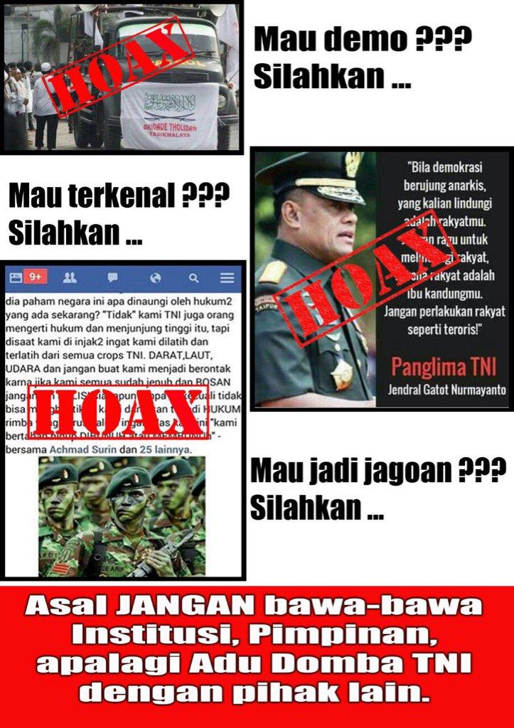 RT @Puspen_TNI: Jangan membuat gaduh Bangsa ini dg membuat berita2 Hoax...#hati2devideatimpera https://t.co/9kEcVkch1x