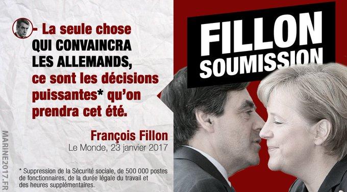François #Fillon l'avoue : son violent projet de destruction n'a qu'un but : satisfaire Madame Merkel... #FillonSoumissionSoumission