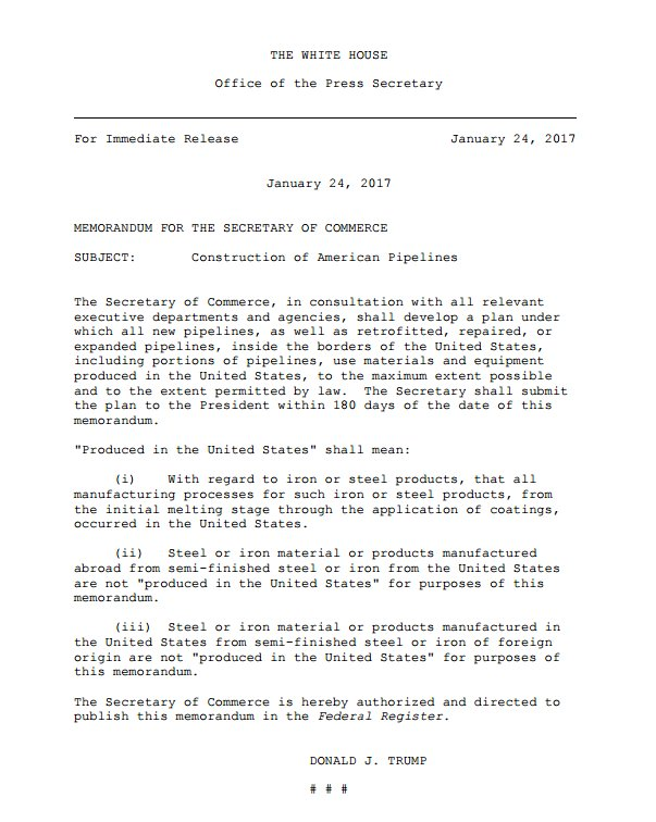 Text of Pres. Trump's executive action involving pipelines in the US.