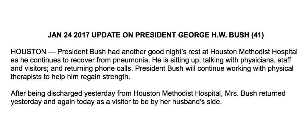 UPDATE: Pres. George H.W. Bush continues to recover; is sitting up and talking, and returning phone calls, spokesman says.