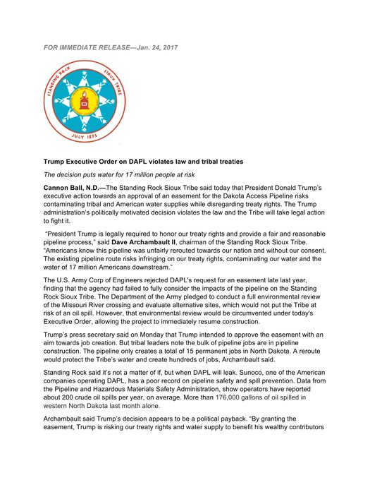 Time to get it into gear. Please read #StandingRock's statement on Trump's reckless & vindictive decision to poison the water of 17 mil ppl.