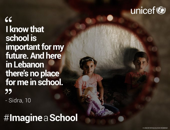 Girls aged 13-18 that attend school are more likely to refuse child marriage than those who are out of school #ImagineaSchool @UNICEFLebanon
