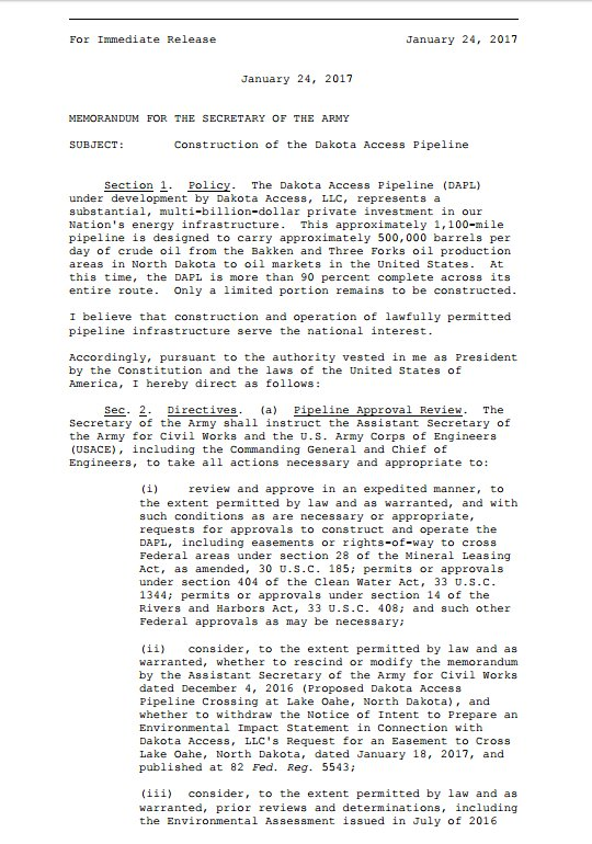 Text of Pres. Trump's executive action on the Dakota Access pipeline.