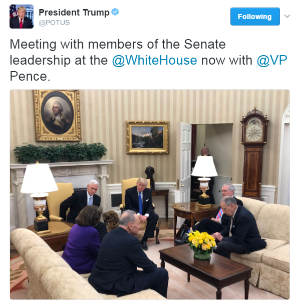 .@POTUS tweeted a photo of he and @VP meeting today with Senate leaders @SenSchumer and @SenateMajLdr.