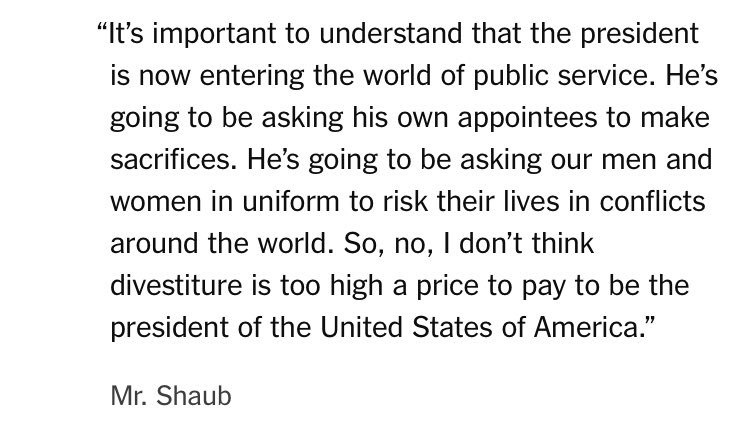 This is the Director of the Office of Government Ethics explain why Trump MUST sell his businesses.  Every American should read this quote.