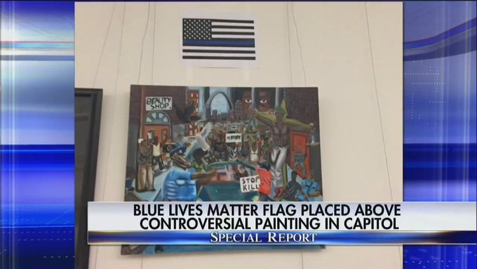 Update: Blue Lives Matter flag placed above controversial painting in Capitol. #SpecialReport