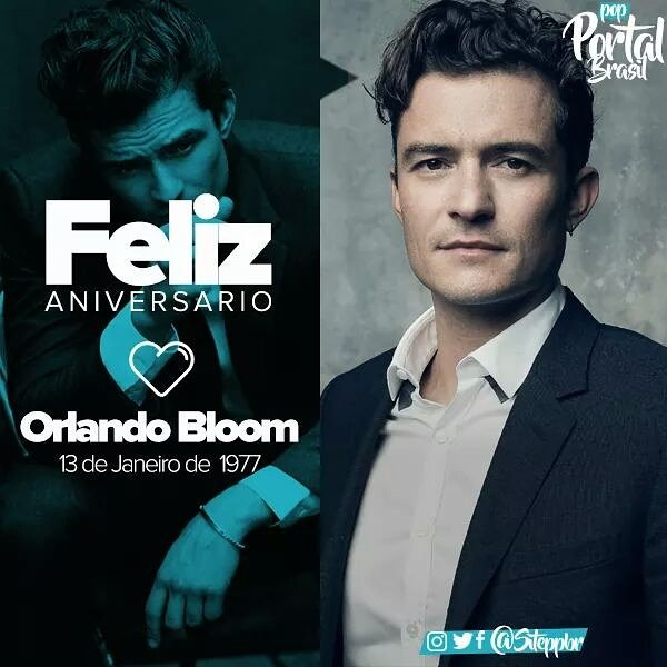 Hoje (13/01) o ator Orlando Bloom está completando 40 anos de idade.   Curta: Portal POP Brasil
