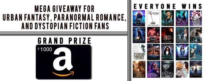 #UrbanFantasy #PNR #Dystopian #Win $1000 #GiftCard + get 20 FREE #books