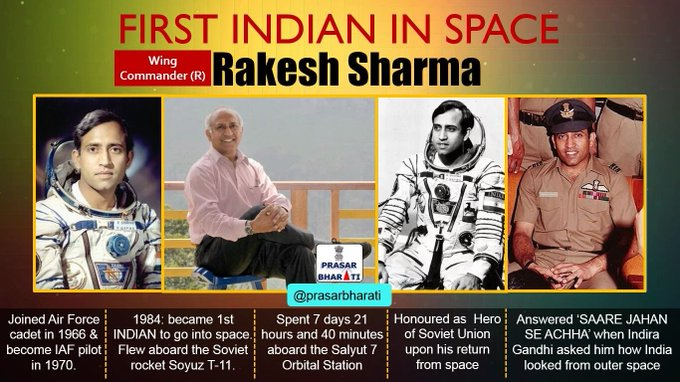 Happy Birthday Rakesh Sharma ji The First Indian to travel in Space,Ashok Chakra turns 68 today.