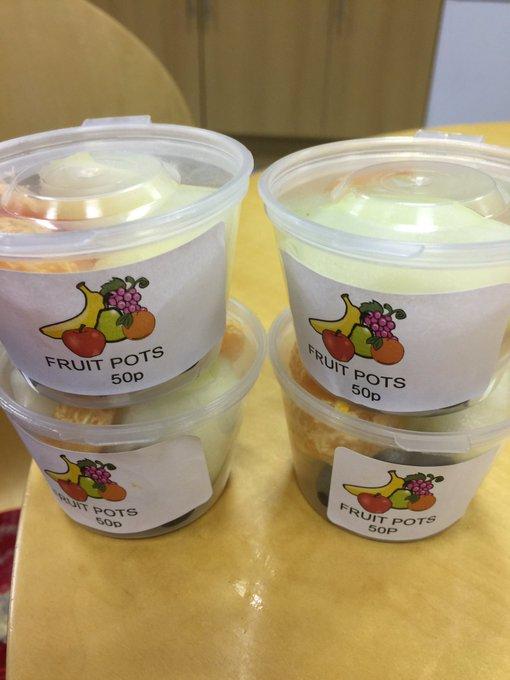 RT @Mrs_Pilling: Fruit pots made fresh this morning. On sale 50p at playtime. https://t.co/8OYUrhUgBk