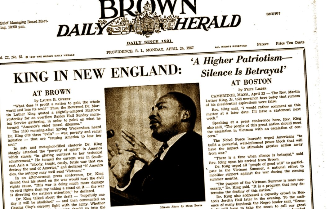 Fifty years ago, MLK delivered a 'radical' message at Brown https://t.co/QeSAqoBYPu #MLKDAY #MLKday2017 https://t.co/snyIrnGaGG