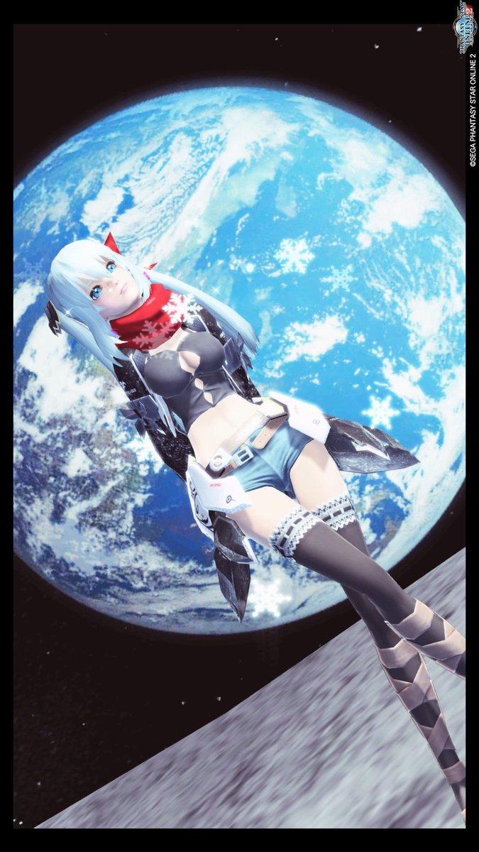 月で撮ったイメチェン後!まあヘアカラーとアイカラーと目がPSO2アニメ風に変わってるだけなんですけどねっ…!#PSO2