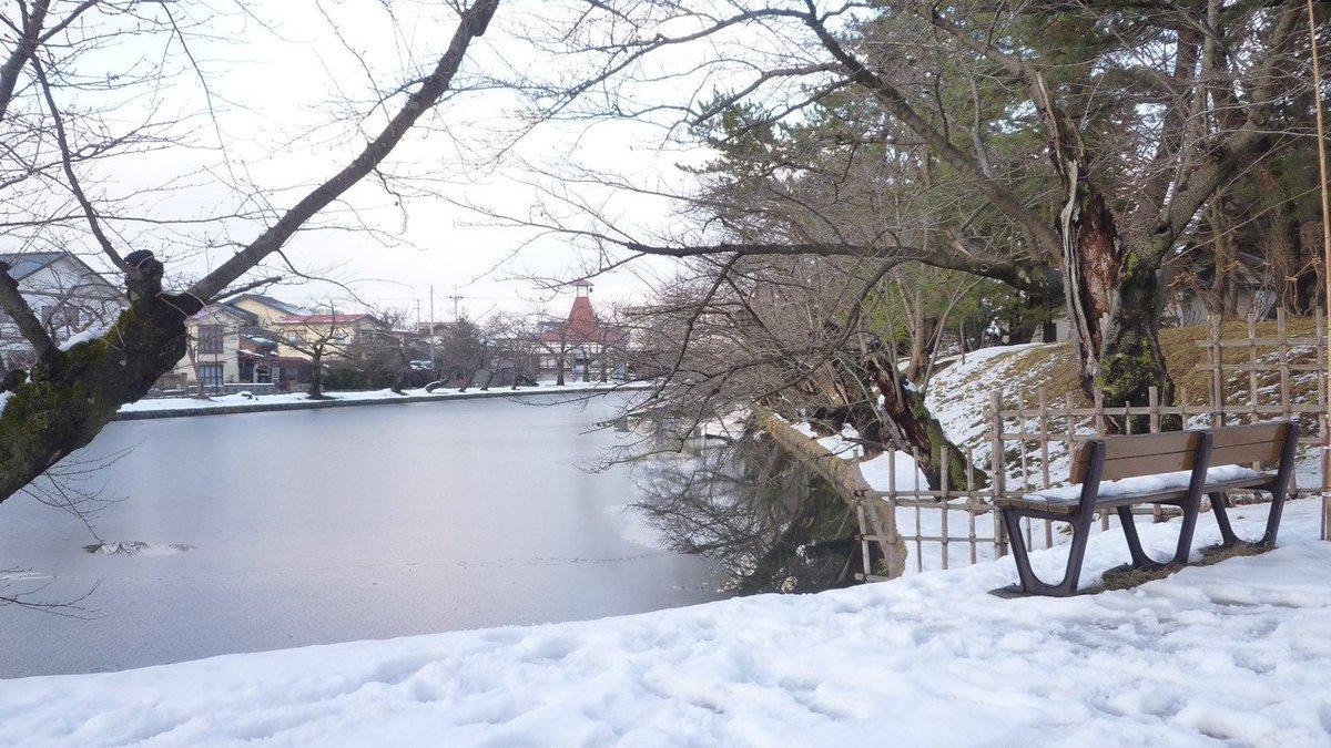 大寒波だけでも結構景色が変わるもんだねぇ。それにしても、水面にどうやってこんな模様ができたんだろなぁー#弘前公園#ふらい