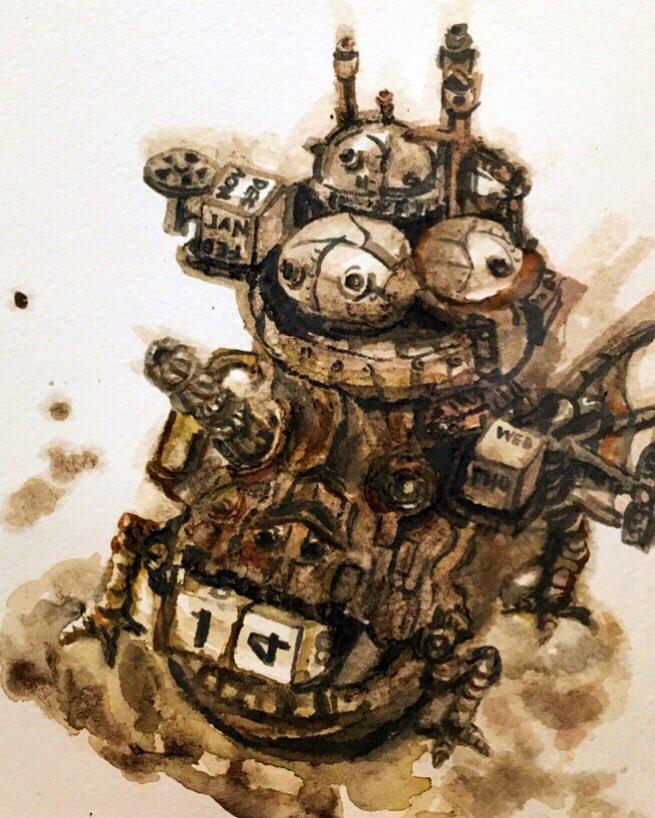 コーヒーで描いてみました。下描きなしの一発描き☺️うちのカレンダーです😚深み足りなくてインク足しました🎨#ハウルの動く城