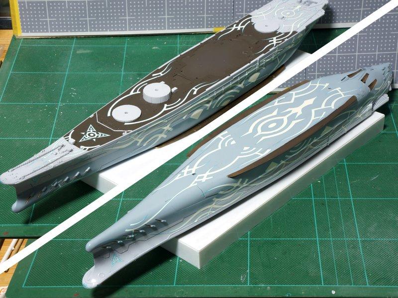 アルペジオのヤマト、船体のバイナルパターン終わり。多少は失敗もあり・・・(笑)貼り終わったらスーパークリアーIII(光沢