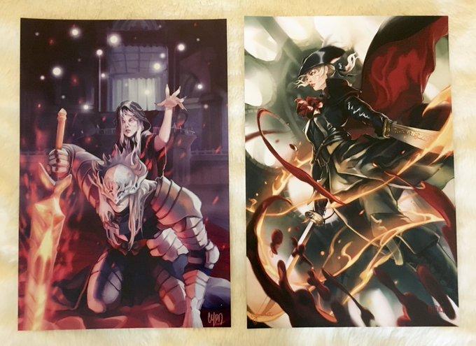 Got these beautiful Dark Souls 3/Bloodborne art prints from @cypritree at Otakon Vegas! Can't wait to