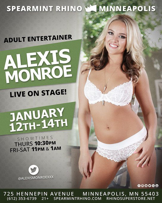Guys make sure you go see my girl @AlexisMonroexxx for her last night at @spearmint_mpls and give her