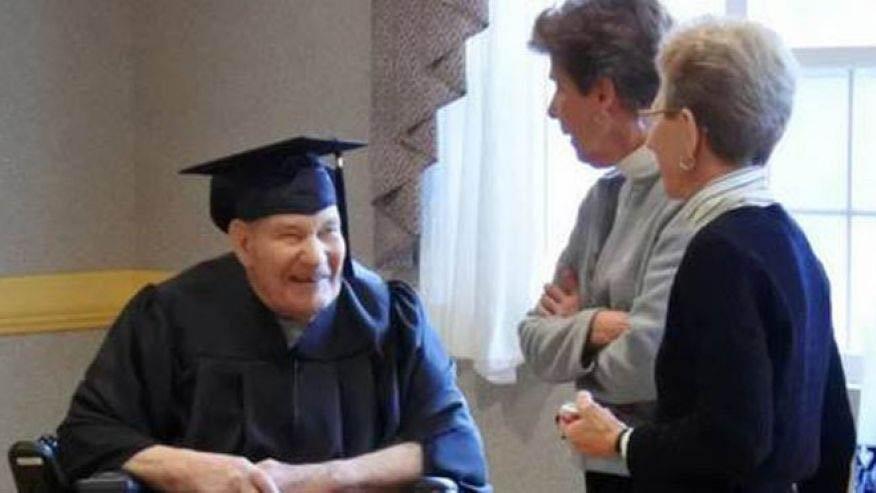 World War II Navy veteran awarded high school diploma at 90